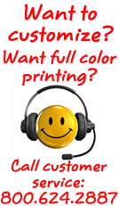 Call us to add full color printing